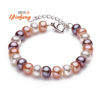 Top quality 8-9mm natural freshwater pearl bracelet for women white/multi-color two types fashion charm bracelet