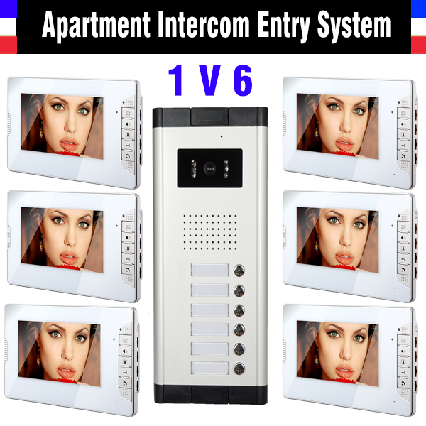 6 Units Apartment Intercom System 7 Inch Monitor Video Intercom Doorbell Door Phone Apartment Intercom Video Door Camera kits(China (Mainland))