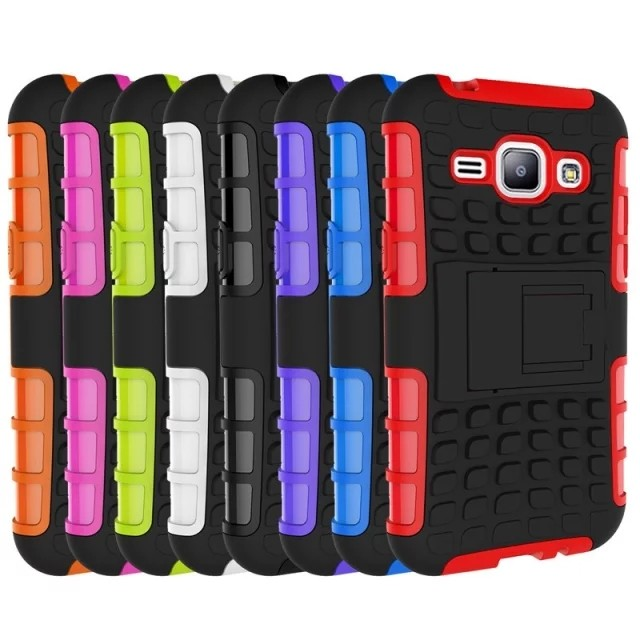 200pcs DHL Free Dual Layer Rugged Hybrid Silicone Armor Cover ShockProof Hard Stand Case For Samsung Galaxy J1 SM-J100(China (Mainland))