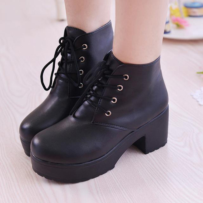 Punk Rock Ankle Boots Thick Heel Punk Rock Boots