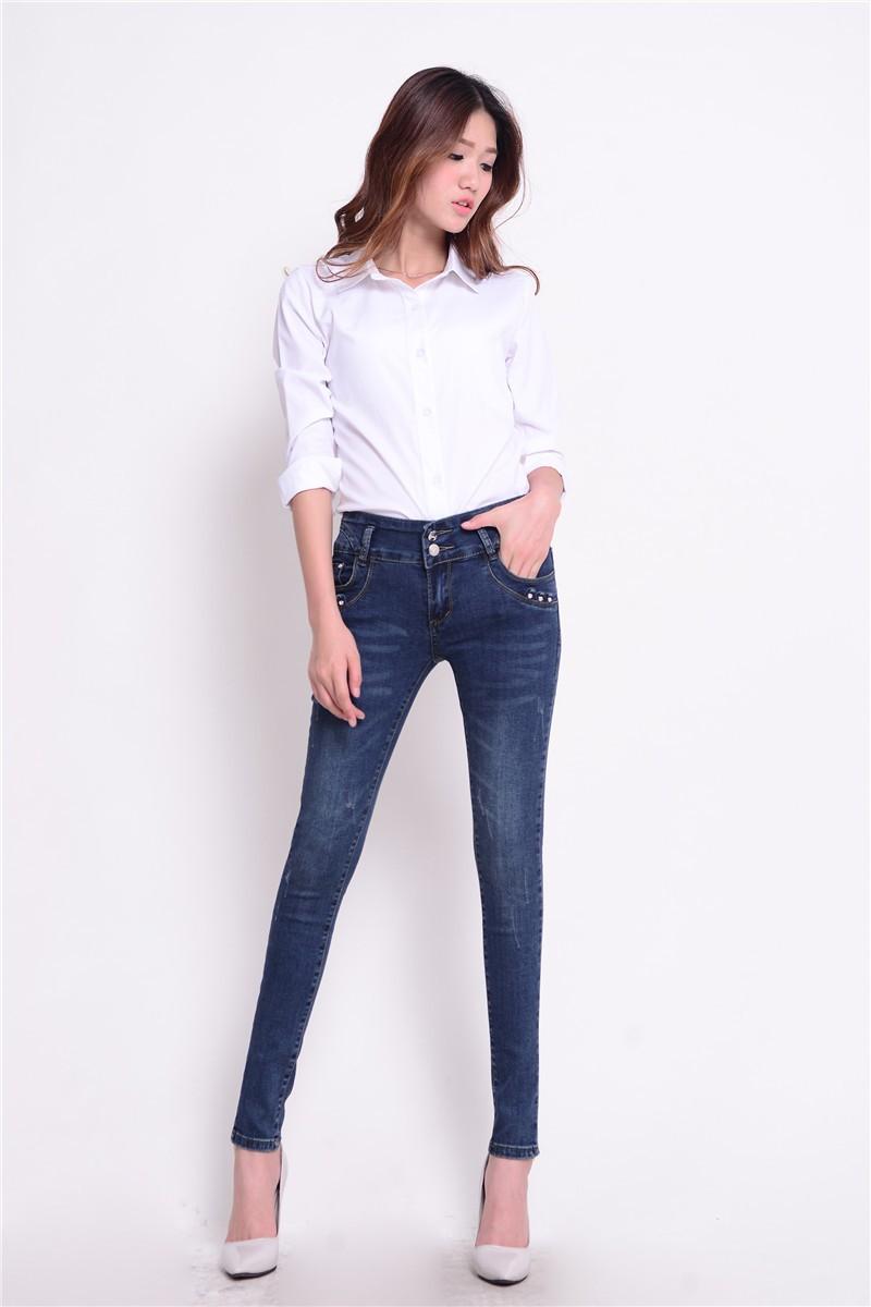Скидки на Новая мода марка женщины тощий карандаш джинсы упругие брюки стиральная цвет хорошее качество женщины повседневная жан брюки # BJ9611