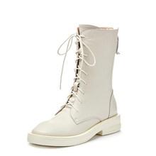 SOPHITINA Stilvolle Echtes Leder Runde Kappe Damen Stiefel Grund Slip-Auf Platz Ferse Schuhe Casual Solide Med Ferse Frauen stiefel SO194(China)
