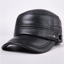 XdanqinX sonbahar kış yetişkin erkekler hakiki deri sıcak beyzbol kapaklar inek derisi düz üst kapak orta yaşlı erkekler için markaları deri şapkalar(China)