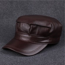 BIG Discounts 2016 Genuine Leather Adjustable Baseball Cap Winter Cowhide Windproof Hats For Woman/Man(China (Mainland))