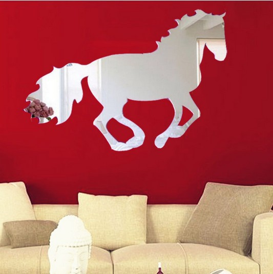 horse DIY creative home decoration removable wall stickers bedroom living  room sofa 3D Mirror Wall Stickers sticker