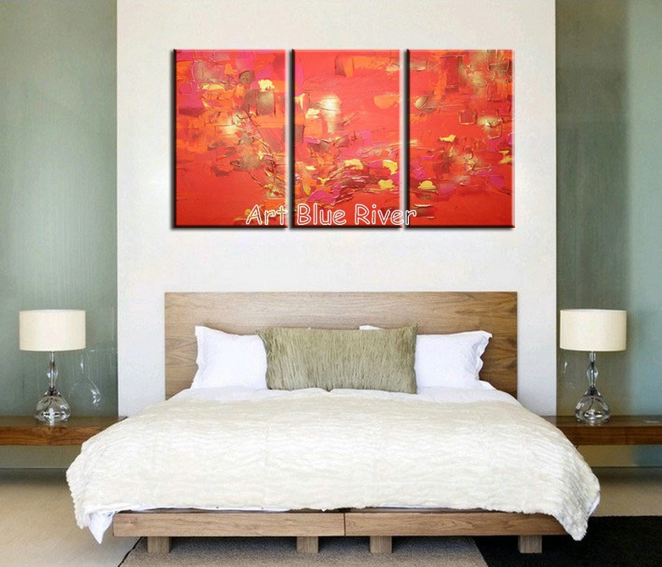 Buy 3 piece canvas art  handmade wall modern abstract red decorative set Knife paint oil painting canvas for  living room decoration cheap
