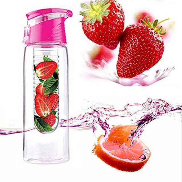 Розовый 800 мл спорт здоровый фруктовый сок Infuser настаивая бутылки воды флип-крышкой