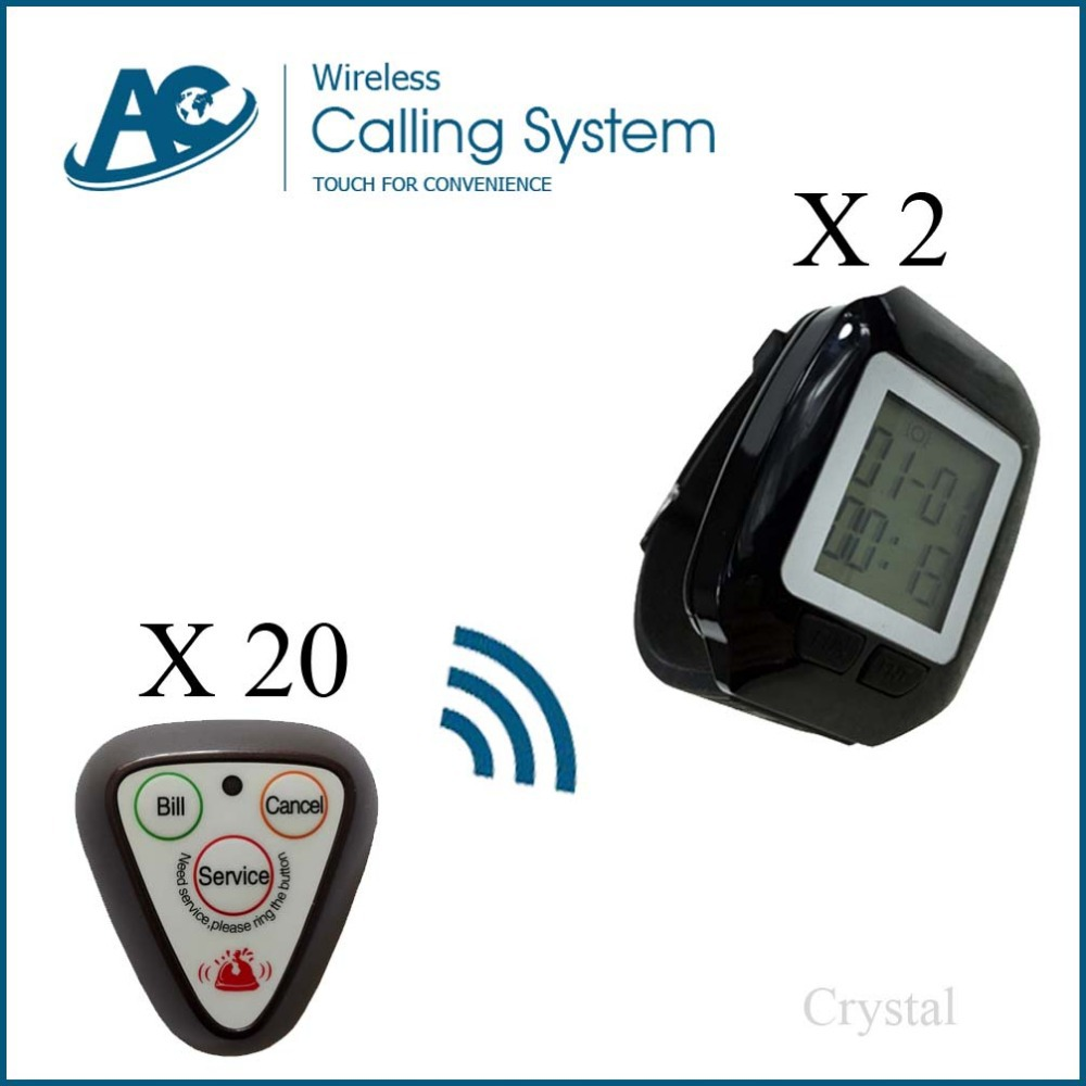 20call buttons+2 watches wireless service waiter remote call bell system wireless call restaurant pager call table waiter call(China (Mainland))