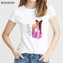Verano 2019 vogue t shirt femme but first coffee letras Rosa verde chica impresa divertidas camisetas mujeres gráfico tee superior(China)