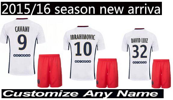 New 2015 2016 home away white Football Jersey IBRAHIMOVIC DAVID LUIZ CAVANI VERRATTI LUCAS MATUIDI LAVEZZI PSG jersey shirt(China (Mainland))