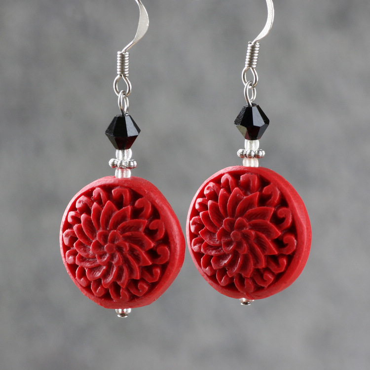 Red earrings carved lacquer flower gift jewelry 925 vintage earrings women drop earrings(China (Mainland))