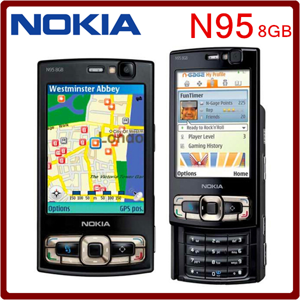Original N95 8GB Storage Camera 5MP Unlocked Nokia N95 8GB Mobile phone Free shipping One year Warranty(China (Mainland))