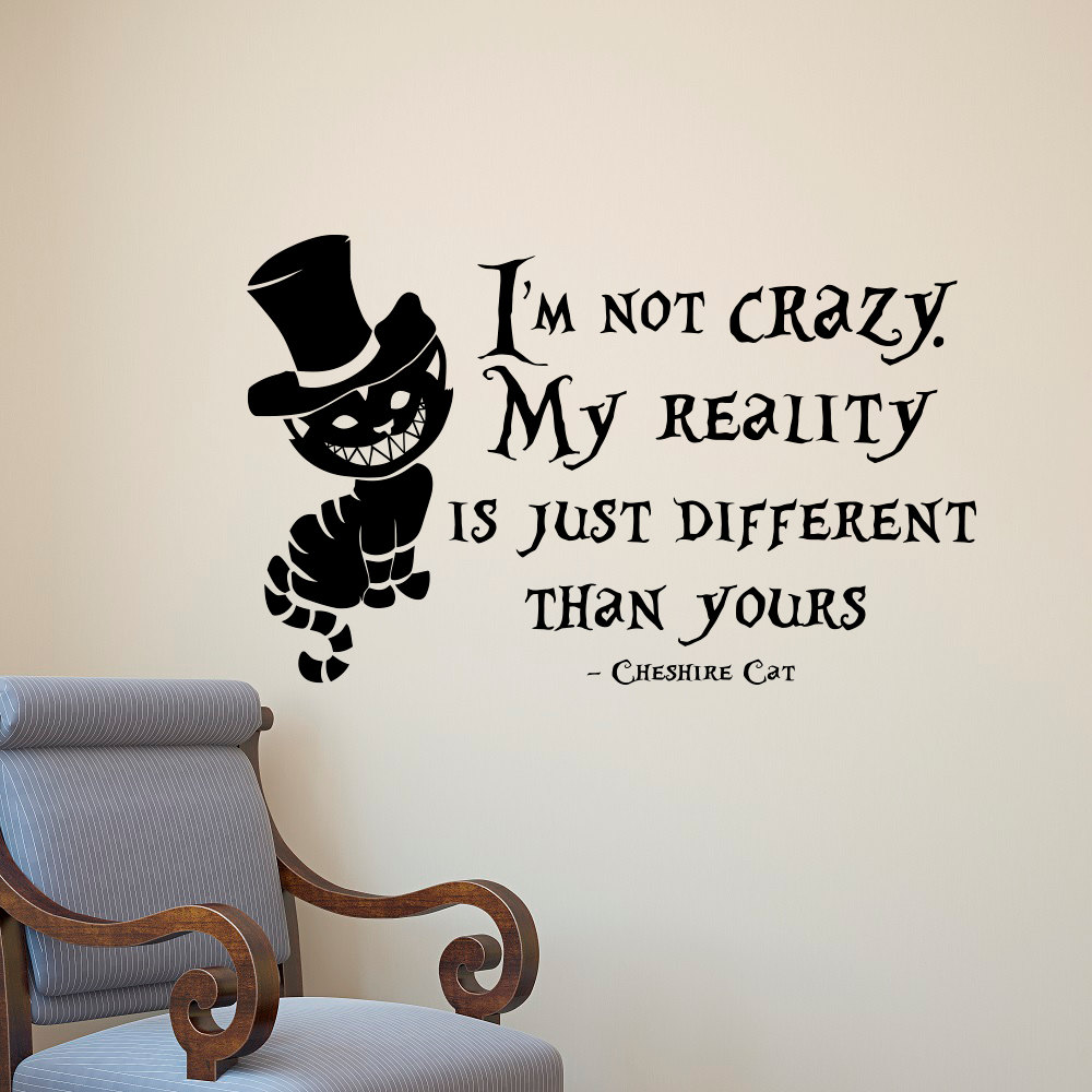 Alice in wonderland wall sticker cheshire cat quotes vinyl decals room wall a - Stickers et decoration ...
