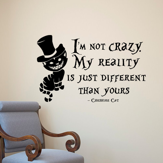 Alice In Wonderland Wall Sticker Cheshire Cat Quotes Vinyl Decals Room