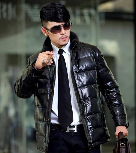 2012 free shipping  special mink stand-up collar down ski suit winter men's long down jacket Black,brown zhejiang DJM018