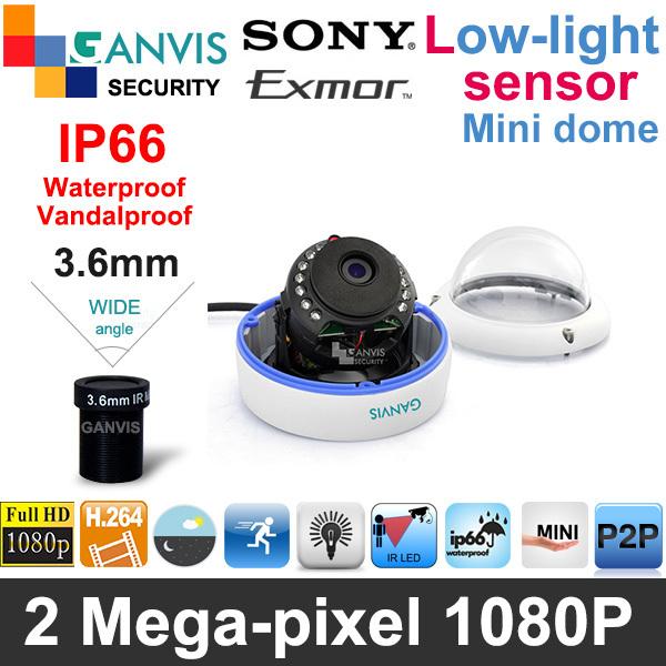 2mp 1080P Full HD IP camera mini dome SONY sensor IP66 rate waterproof/vandalproof P2P Network cctv surveillance GANVIS GV-T254(Hong Kong)