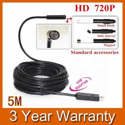 5M Mini USB HD 720P Endoscope Borescope Snake 10mm Lens 4 LED IP67 Waterproof Inspection Camera Borescope(China (Mainland))