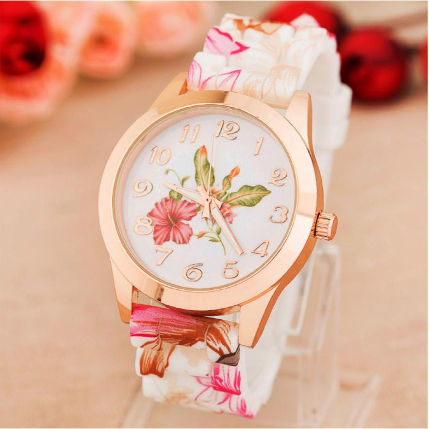 Free Shipping 2015 High Quality Watch Women Quartz Watches Flower Silicone Classic Wristwatches Relogio Feminino Hot