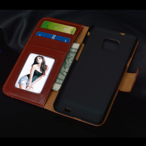 Luxury Wallet with Stand Flip Case For Samsung Galaxy S2 SII i9100 GT-i9100 cover with Card Holder 6 Colors in Stock(China (Mainland))
