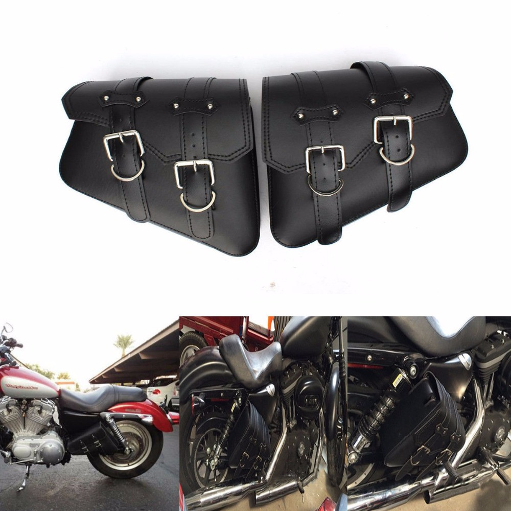 2x Motorbike Luggage Package Motorcycle PU Leather Saddle Bag For Harley Sportster XL883, XL1200 Hugger Sportster x2(China (Mainland))