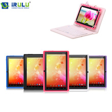 IRULU Brand Yellow Tablet PC Blue Keyboard A33 Quad Core 16GB ROM 7″1024*600 HD Android4.4 Kitkat  Dual Camera 2.0MP Tablet 3G