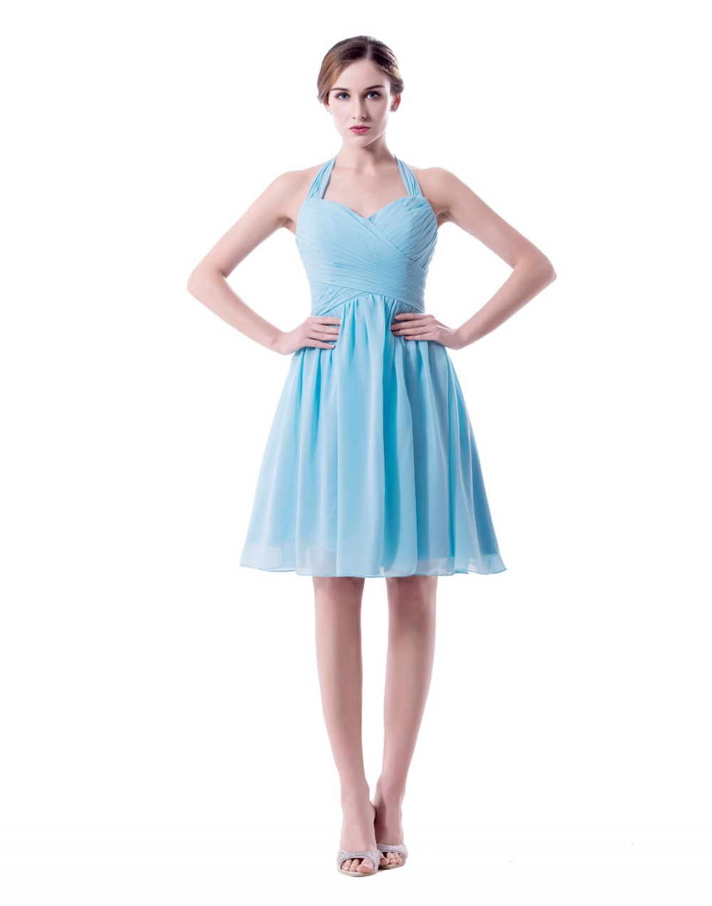 Light sky blue short bridesmaid dresses halter plus size for Short blue wedding dresses