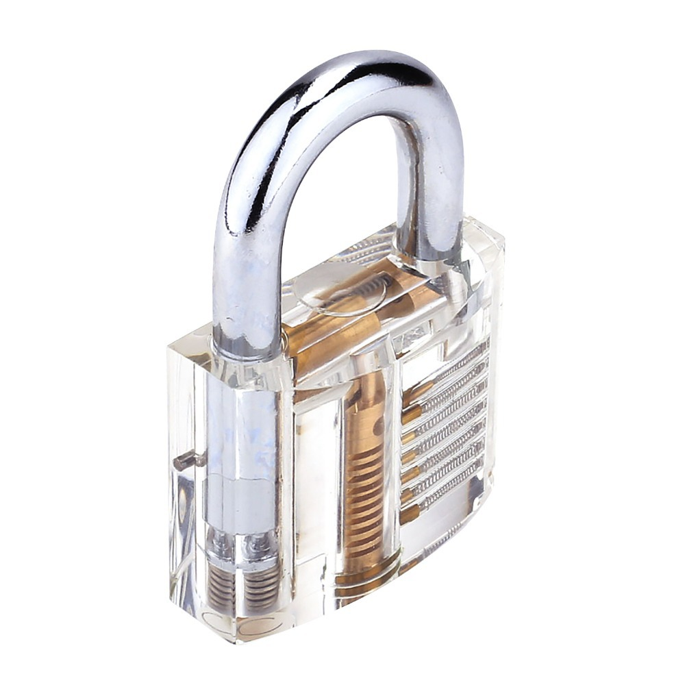 Clear Crystal Transparent Cutaway inside view Practice Padlock Visible View Lock training Skill Pick Locksmith with 2 keys(China (Mainland))
