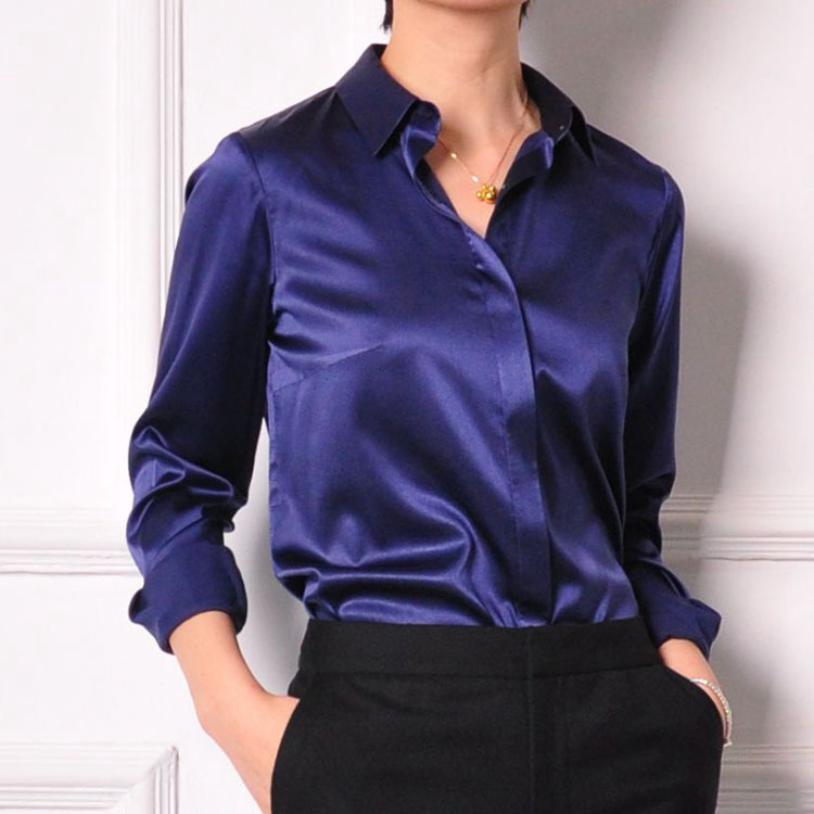 XXXL women Fashion silk satin blouse button ladies silk blouses ...