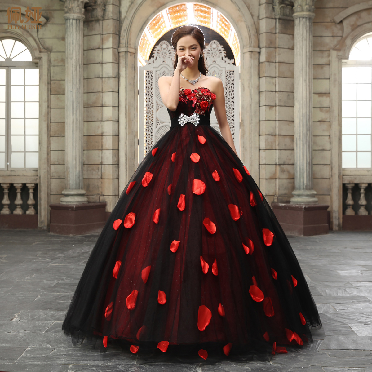 Black and Red Wedding Dress Tulle Overlay Beaded Long Ball