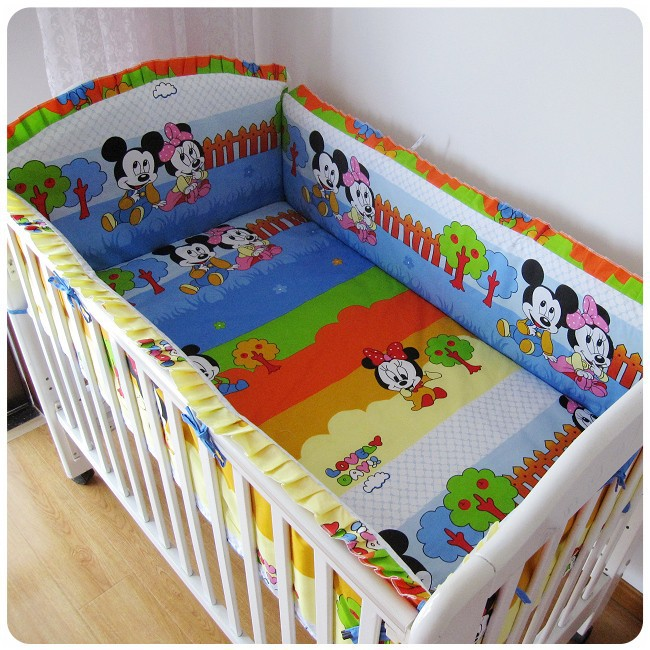Promotion! 6PCS Mickey Mouse Kids Child Baby Bed ,Good Quality Cheap Price Baby Crib Accessories (bumper+sheet+pillow cover)(China (Mainland))