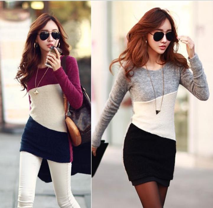 OMH wholesale ladies Slim temperament dress Stretch long sleeve Round collar spring autumn women fashion cute Dresses, FZ430(China (Mainland))