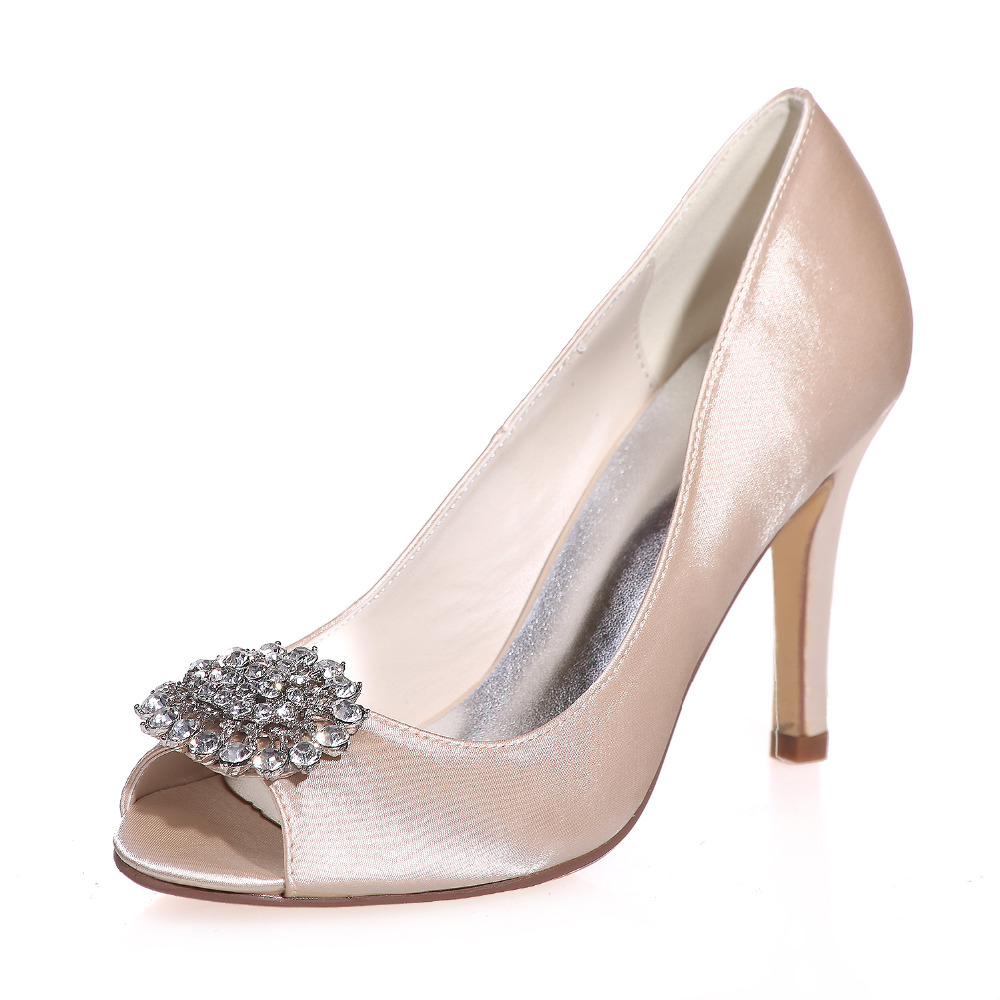 Sparkling Crystal Brooch Open Peep Toe Satin Dress Shoes Evening Party Prom L
