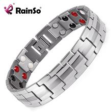 "Rainso Fashion Jewelry Healing FIR Magnetic Titanium Bio Energy Bracelet For Men Blood Pressure Accessory 8.5"" Silver OTB-1537(China (Mainland))"