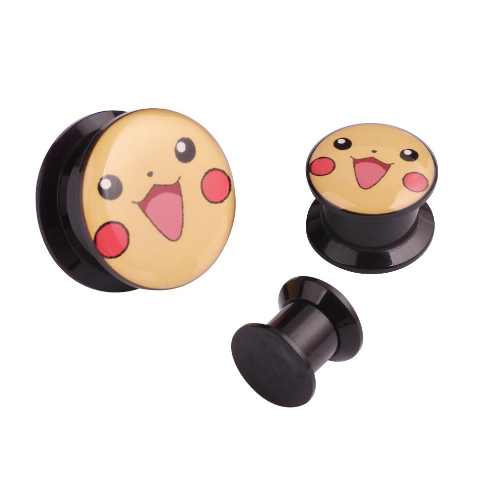 SWANJO 2pcs Acrylic Cartoon Logo Ear Plugs Tunnel Piercings Earring Gauges Plugs and Tunnels Body Jewelry Stretcher Kits Orelha(China (Mainland))