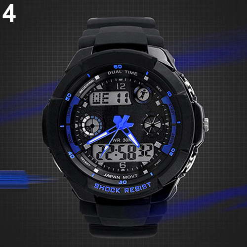 Multi-Function Cool S-Shock Sports LED Analog Digital Waterproof Alarm  wrist Watch  6VQA<br><br>Aliexpress