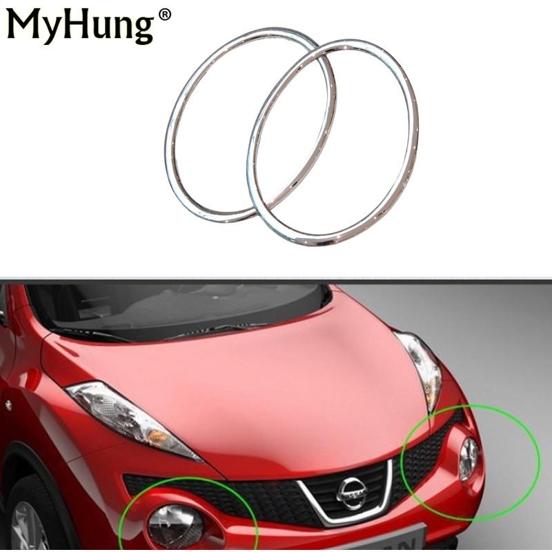 Car Styling Head Lamp Front Bumper Headlight Ring Trim Cover Nissan Juke 2010-2014 Abs Chrome Auto Accessories 2pcs per set