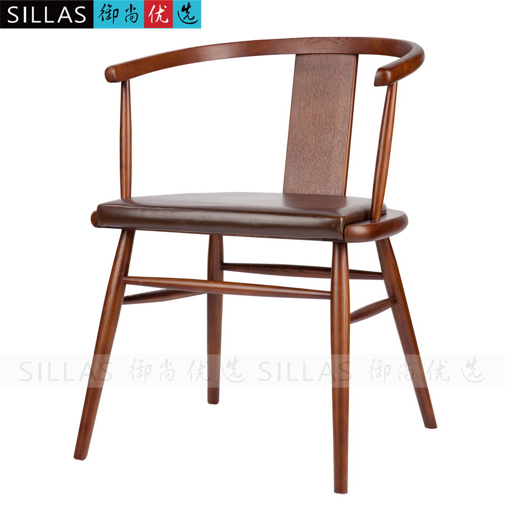 Solid wood chair modern chinese new chinese ming chair for Restaurant furniture