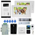 7 wired color video door phone intercom doorbell kit set with 1 camera 2 monitors access