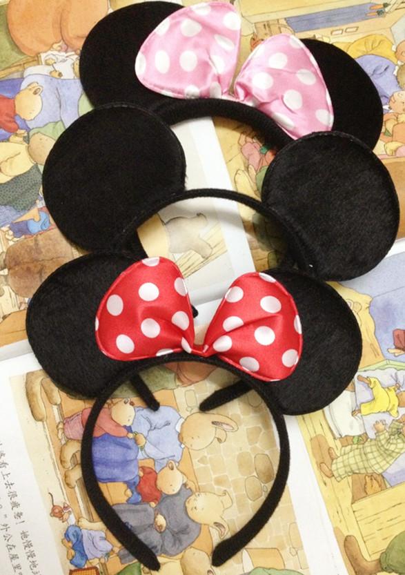 1PC 2015 Cartoon Minnie Hair Sticks Headwear Bow Hair Bands Minnie Mouse Ears Headband For Women Girls Baby Birthday Party(China (Mainland))