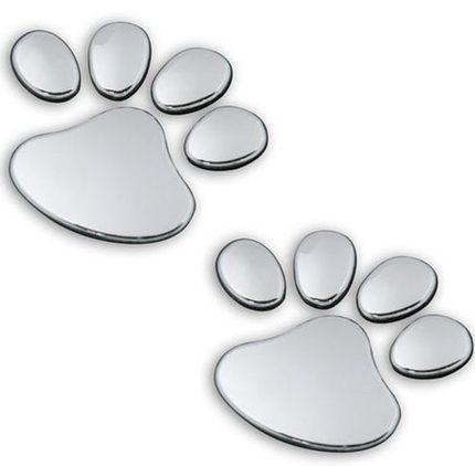 2PCS 3D Dog Bear Footprints Chrome Badge Emblem Car Stickers Decal Dog paw Dog Footprint 3D PVC for Cherolet cruze CAMARO AVEO(China (Mainland))