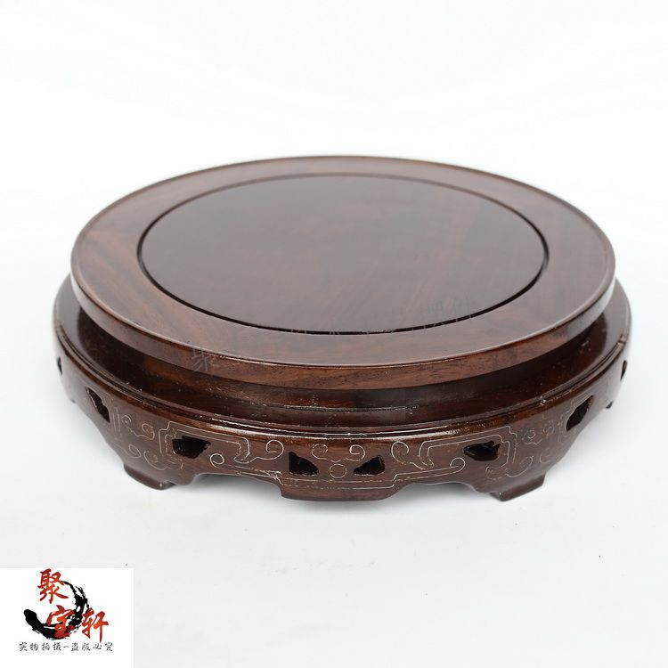 Black catalpa wood real wood carving handicraft household act the role ofing is tasted furnishing flowerpot circular base<br><br>Aliexpress