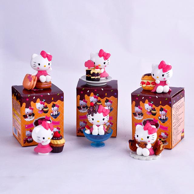 6 шт./компл. Hello Kitty Сцены Фигурку Игрушки Симпатичные KT Cat фигурки Модель С Коробкой Цвета Подарок Детям Очень Красивая Свободном доставка