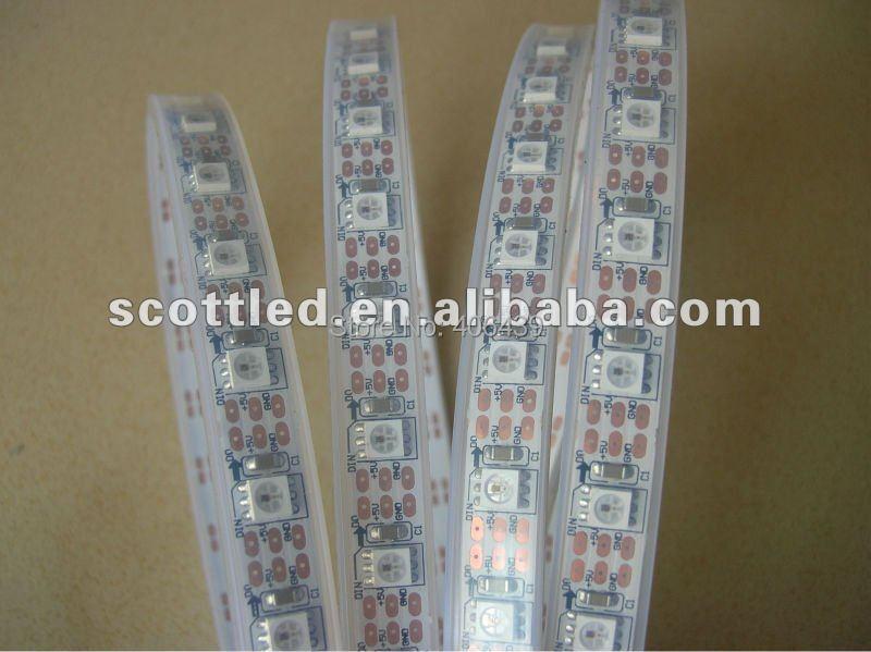 White PCB 60leds/m ws2812B pixel strip light;4M/reel,6WS2812B built-in 5050 smd rgb led chip,silicone tube IP67,DC5V  -  SCOTT LED Store store