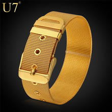 U7 Stainless Steel Bracelet Men Jewelry Wholesale 18K Gold Plated Mens Bracelets New Fashion Jewelry Bracelets Bangles H648(China (Mainland))