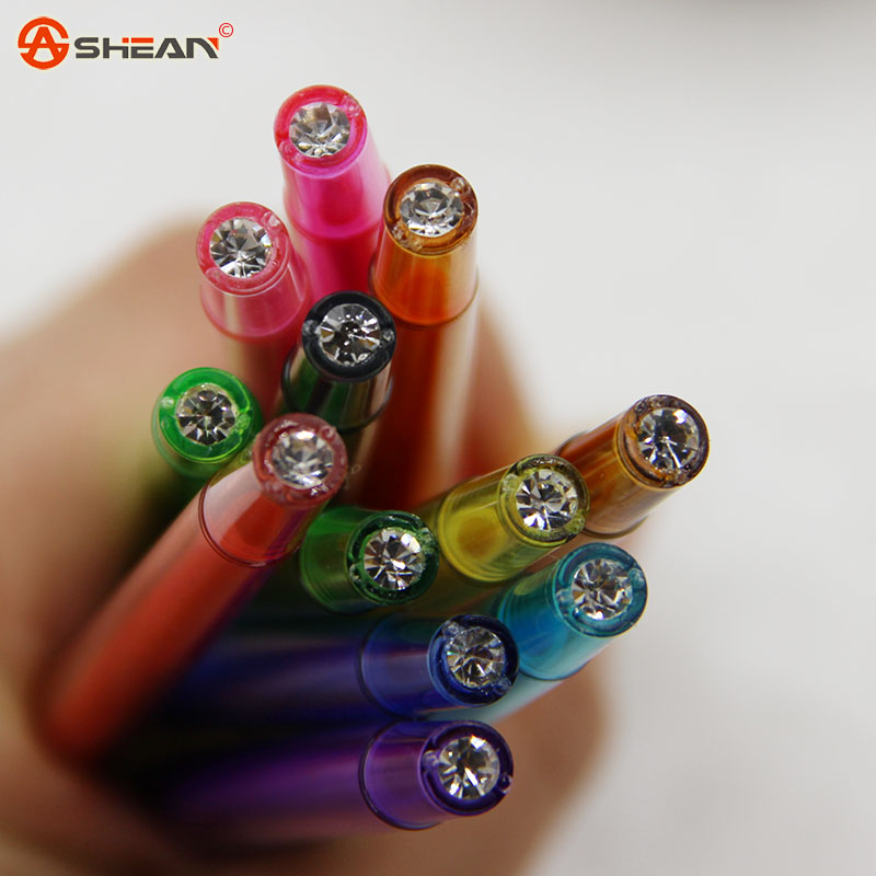 wholesale stationery small fresh candy color diamond color gel pen 12 colors 0.5mm<br><br>Aliexpress
