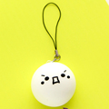 Fashion Women Tiny Soft Rubber Ball Bread Expression Ornaments Key Chain New Style Happy Funny White