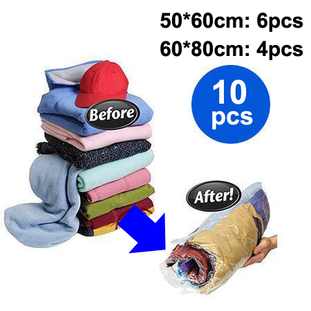 10pcs/lot Travel Hand Roll Vacuum Storage Bag for Clothes Vacuum Rolling Compressed Space Saving Organizer Bags Wholesale(China (Mainland))