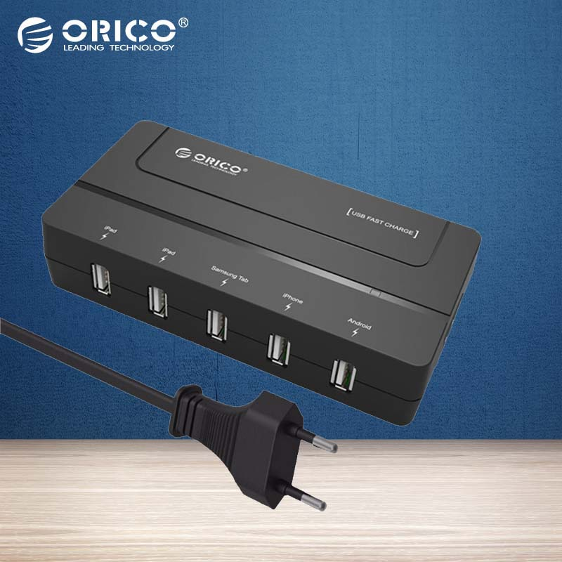 ORICO DCH-5U-EU 5 Port USB Charger Wall Chargeur USB EU Adapter Travel USB 2a Charger For IPhone(Black)