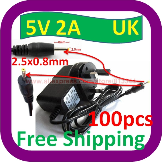 100 pcs Free Shipping UK 5V 2A AC-DC Adaptor Charger for Gemini JoyTAB 9.7 inch Android Tablet PC APAD(China (Mainland))