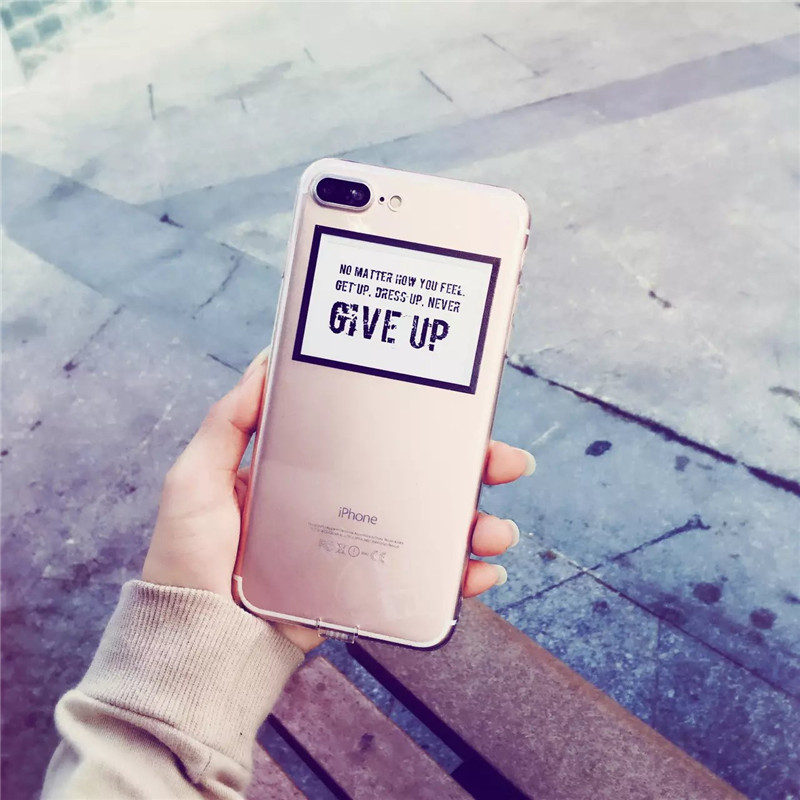 Personality Never Give Up Pattern Case Cover For iphone 7 7 plus 6 6s Plus Slim Soft TPU Cell Phone Cases +Dust plug C64(China (Mainland))
